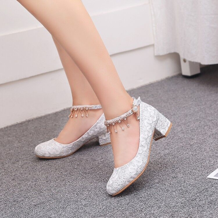 Details about New Womens Block Heels Lace Rhinestones Ankle Strap Bridal Wedding Shoes Pumps