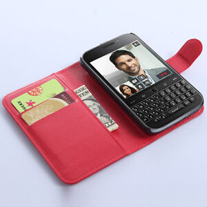 Red Wallet Case with Card Slots for BlackBerry Classic Q20