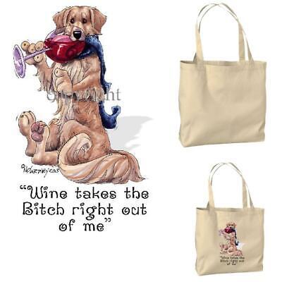 Golden Retriever Dog Wine Bitch Cartoon Artist Canvas Market Grocery Tote Bag