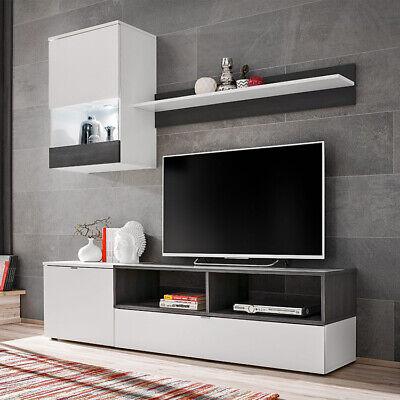 Parete attrezzata LIPO 2 Gihome ® bianco opaco rovere grigio mobile soggiorno tv