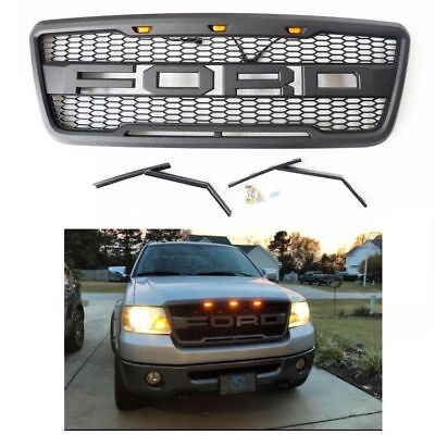 2004-2008 Matte BLCAK Grille For Ford F150 Grill  Raptor Style Front Hood US