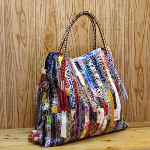 Color Clash 100/% Genuine Leather Snake Ladies Handbag Tote Purse Shoulder Bag