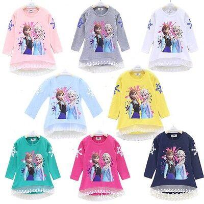 Kids Frozen Anna&Elsa T-Shirt Cotton Lace Tops Long Sleeve Clothes Girls Gifts