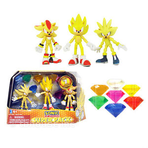 3-SONIC-SUPER-PACK-figures-THE-HEDGEHOG-silver-SHADOW-3-PACK-w-7-CHAOS-EMERALDS