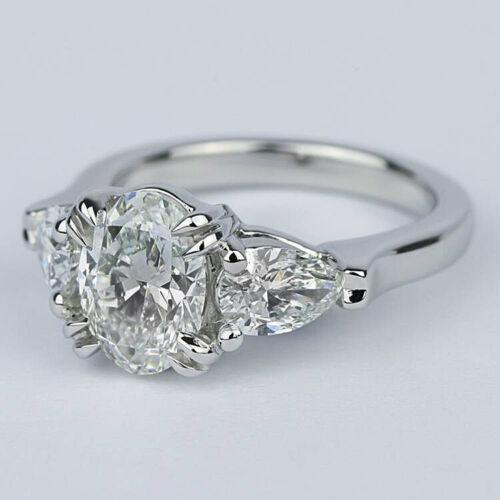 Three Stone Classic 1.41 Carat Oval Cut Diamond Engagement Ring White Gold VS2 H