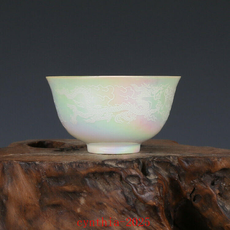 """3.3""""Rare China Porcelain ming Dynasty Pearl glaze Dragon lines cup"""