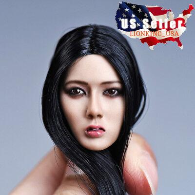 "1//6 American Female Head Sculpt Black Hair For 12/"" Hot Toys PHICEN Figure USA"