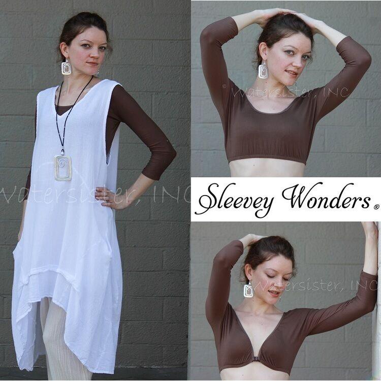 SLEEVEY WONDERS 30102  3//4-Sleeve SHAPEWEAR SLEEVES TOP PLUS Stretch LACE  BLACK