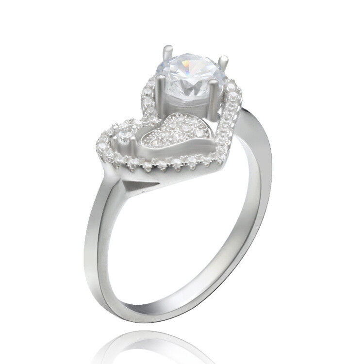Sterling Silver 925 INFINITY HEART LOVE CLEAR CZ DESIGN PROMISE RING SIZES 6-9 Fashion Jewelry