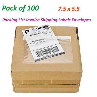 100 7.5 X 5.5 Clear Packing List Invoice Shipping Labels Envelopes Self Adhesive