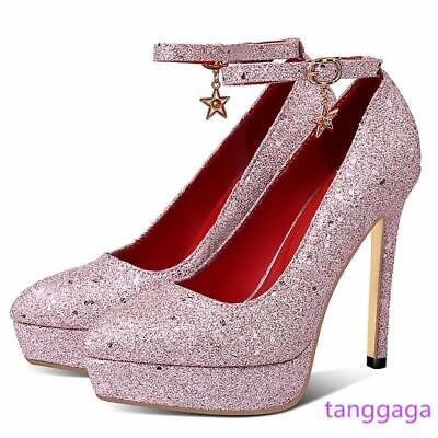 Womens High Heels Size 14 (Women Stilettos Platform Sandal High Heels Party Ladies Pumps Shoes Plus Size)