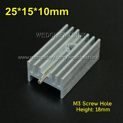 5pcs 25x15x10mm Ic Aluminum Heat Sink With Needle To-220 Mosfet Transistors