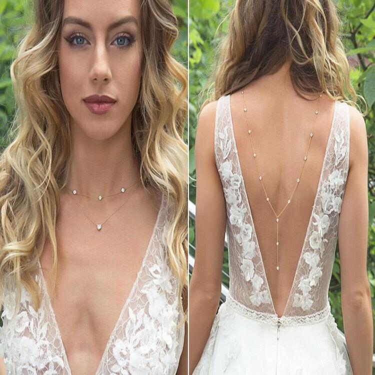 Bridal Women Back Chain Body Necklace Crystal Rhinestone Long Wedding Jewelry