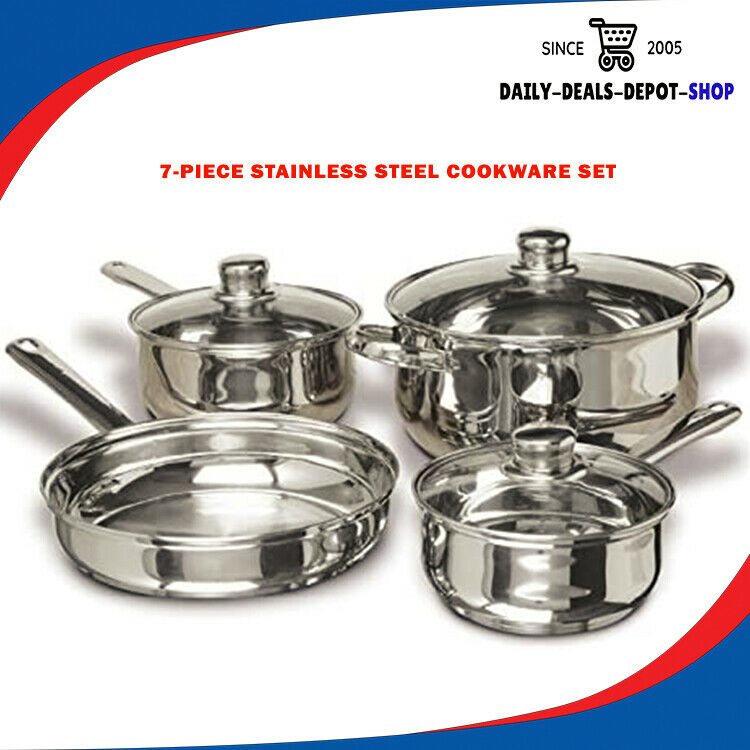 7 Pieces Stainless Steel Cookware Set Pans & Pots Kitchen No