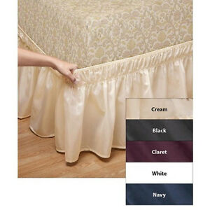 white easy stretch style twin full size bed skirt bedskirt no lifting mattress. Black Bedroom Furniture Sets. Home Design Ideas