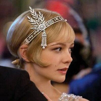 Great Gatsby Tiara Rhinestone Ribbon 1920's Headpiece Headband Silver Flapper