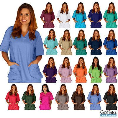Unisex Men/Women V-Neck 2-Pocket Scrub TOP ONLY Medical Hospital Nursing -