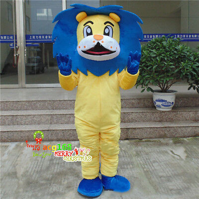 Animal  Mascot Blue Lion Costume Suit of Forest Parade Party Dress Unisex Adults - Woodland Animal Costumes