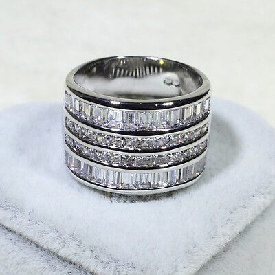 18K White Gold Gf Aaa Clear Cz Engagement Wedding Women Eternity Band Ring R3523