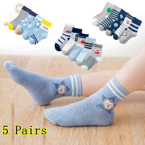 5Pairs Newborn Baby Socks Cotton Soft Cute Toddler Infant Ankle Socks Breathable Baby