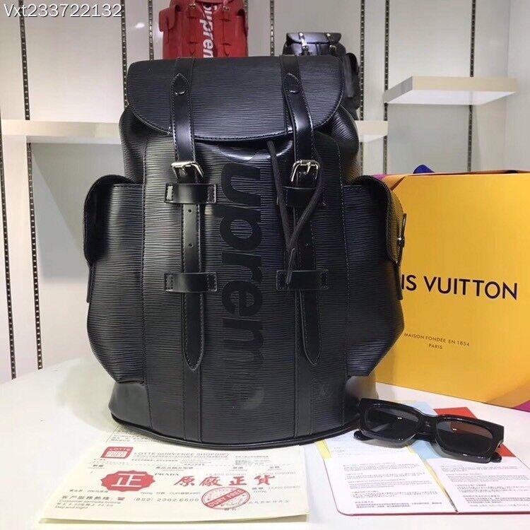 e39226148724 LOUIS VUITTON x SUPREME LV BACKPACK CHRISTOPHER PM BAG EPI - BLACK (FREE UK  Delivery)