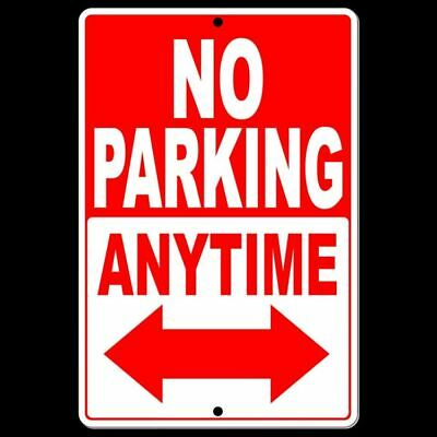 No Parking Either Direction Double Red Arrow Sign Metal Warning Street Snp026