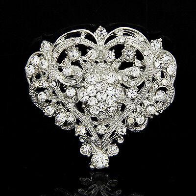Cute Heart Shape Lady Girl Rhinestone Brooch Huge Size Wedding Party Brooch Pin