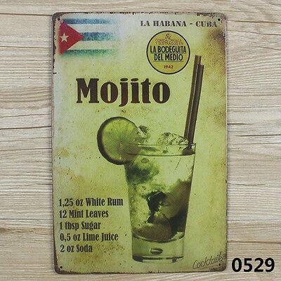 MOJITO CUBA VINTAGE Tin Sign Bar pub home Wall Decor Retro Metal ART Poster - Cuba Sign