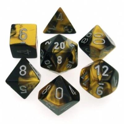 Chessex Dice Gemini Polyhedral Black Gold w/ Silver 7 Die Set CHX 26451