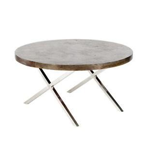 "36"" Round Wood & Steel Coffee Table"