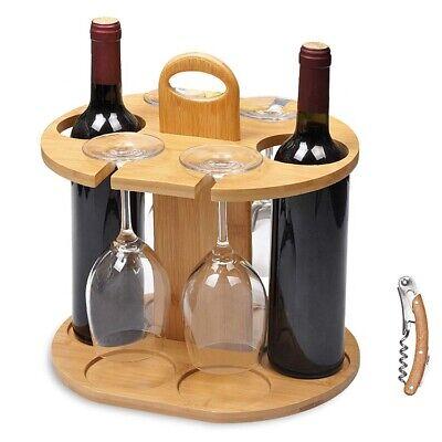 Weinflaschenhalterung aus 100% nachhaltigem Bambus für 2 Flaschen und 4 Gläser