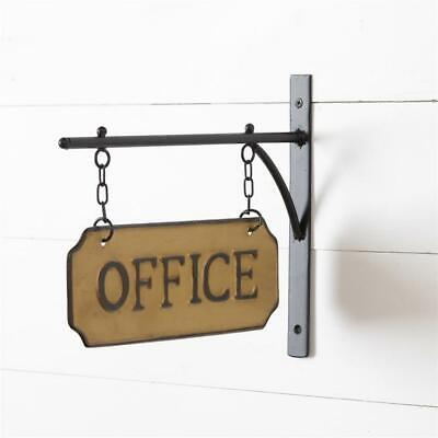 Rustic New Office Sign With Hanging Metal Display Bar