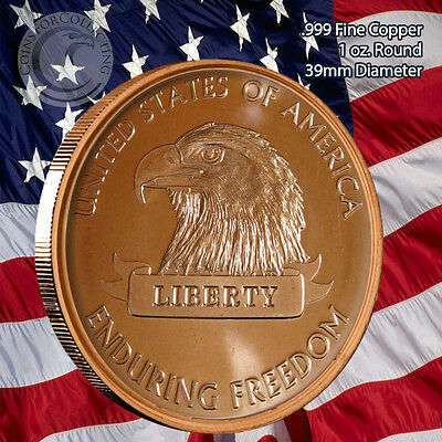 """""""American Eagle"""" 1 oz .999 Copper Round Part of the Enduring Freedom Series"""