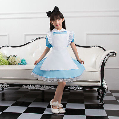 Girls Alice In Wonderland Kids Cosplay Maid Costume Maids Outfit Fancy Dress HOT - Girls In Hot Costumes