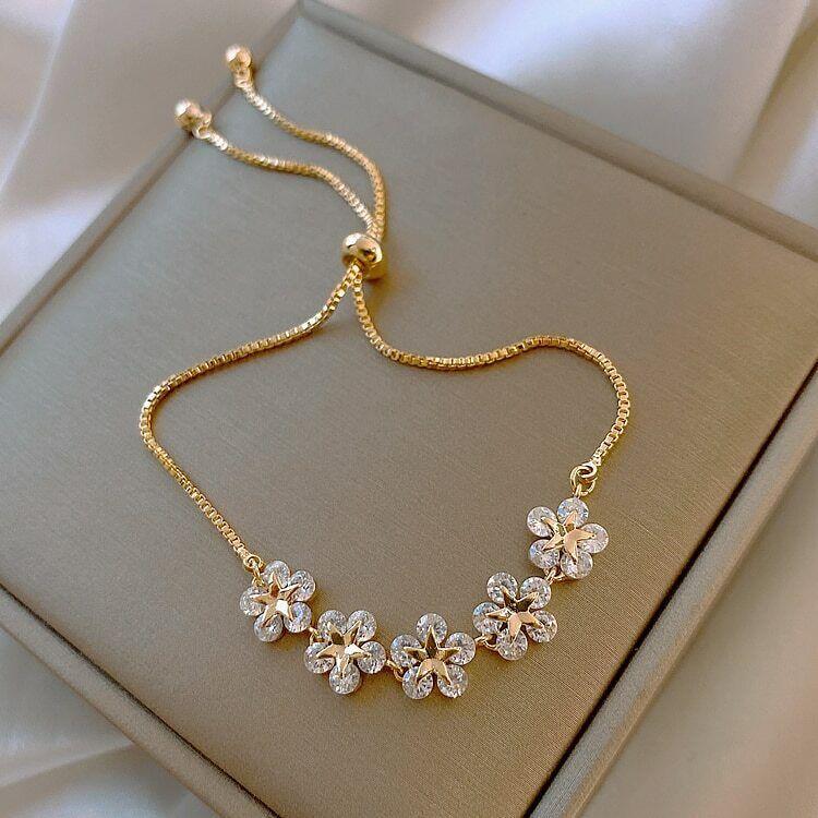 2021 Fashion 5 Flower Zircon Bracelet Bangle Charm Women Wedding Jewellery Gift