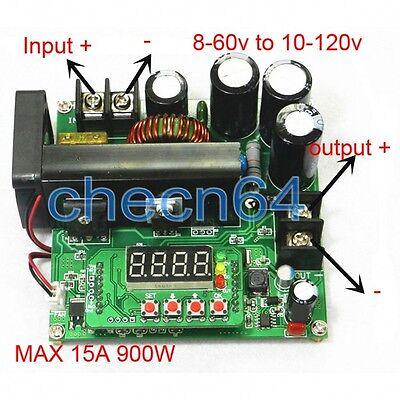900w Digital Boost Step Up Adjustable Converter Power Supply 8-60v To 10-120v