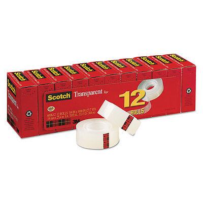 Scotch Transparent Tape 34 X 1000 1 Core Clear 12pack 600k12