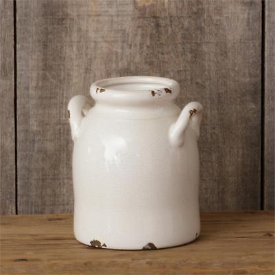 New Primitive Country Farmhouse Chic Cream White UTENSIL HOLDER CROCK Jug Jar