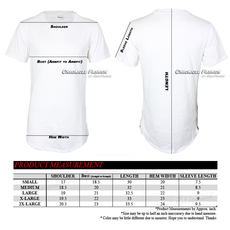 Mens T Shirts Long Extended Crew Neck HipHop Fashion Elongated Tee Casual Zipper