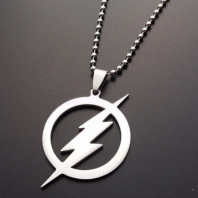Titanium Steel Flash Superhero Pendant Necklace Silver Plated Chain Gifts