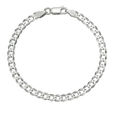 Solid 925 Sterling Silver Men's Italian 5mm Cuban Curb Link Chain Bracelet ()