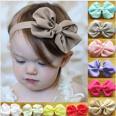 Baby Girls Newborn Chiffon Bowknot Headbands Hairband Hair Bow Pretty Hairwear](Chiffon Bows)