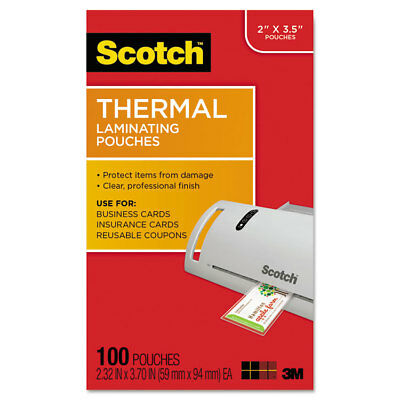 Scotch Business Card Size Thermal Laminating Pouches 5 Mil 3 34 X 2 38 100