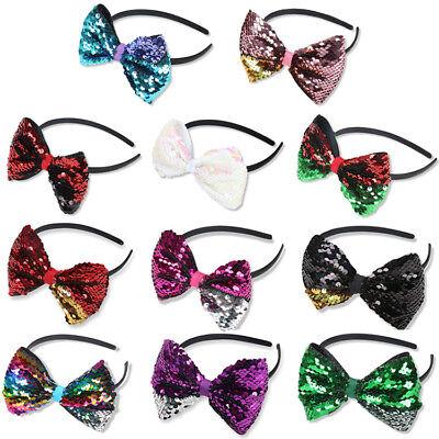 1PC Glitter Reversible Sequin Bowknot Hair Hoop Headband Headwear for Girls (Headbands For Girls)