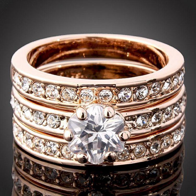 CZ Wedding Women/'s Wedding Set White//Yellow//Rose//Gold Filled Band Ring 3PCS//Set