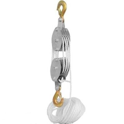 2 Ton Rope Hoist Pulley Wheel Block And Tackle 4000lb Wild Game Deer Hanger New
