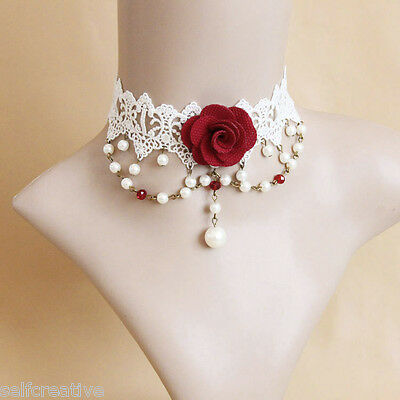 Womens Gothic Bridal Handmade Red Flower Rose Drop Lace Choker Chunky Necklace Womens Red Flower