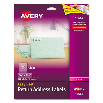 Avery Clear Easy Peel Mailing Labels Laser 12 X 1 34 800pack 15667