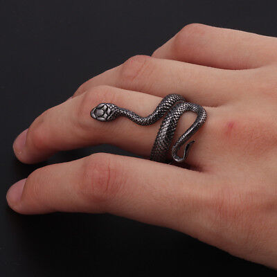 Mens Stainless Steel Gothic Punk Black Silve Snake Boy Biker Finger Ring Jewelry