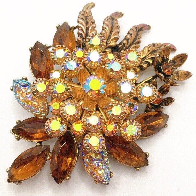 🌺Vintage Runway Statement Rhinestone Layered Flower Brooch Pin Lot B
